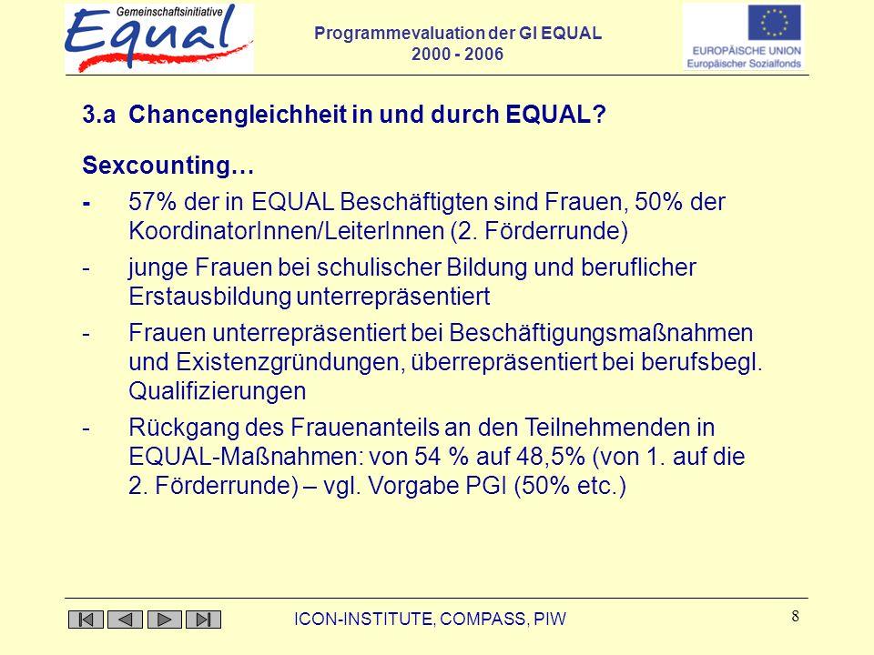 Programmevaluation der GI EQUAL 2000 - 2006 ICON-INSTITUTE, COMPASS, PIW 9 3.b Chancengleichheit in und durch EQUAL.