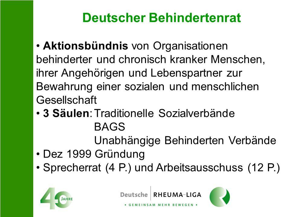 Deutscher Behindertenrat Aktionsbündnis von Organisationen behinderter und chronisch kranker Menschen, ihrer Angehörigen und Lebenspartner zur Bewahru