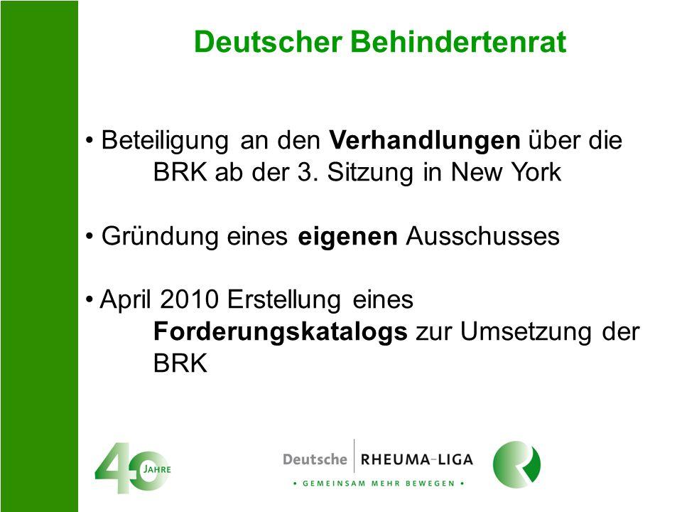 Deutscher Behindertenrat Beteiligung an den Verhandlungen über die BRK ab der 3. Sitzung in New York Gründung eines eigenen Ausschusses April 2010 Ers