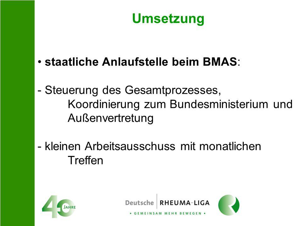Umsetzung staatliche Anlaufstelle beim BMAS: - Steuerung des Gesamtprozesses, Koordinierung zum Bundesministerium und Außenvertretung - kleinen Arbeit