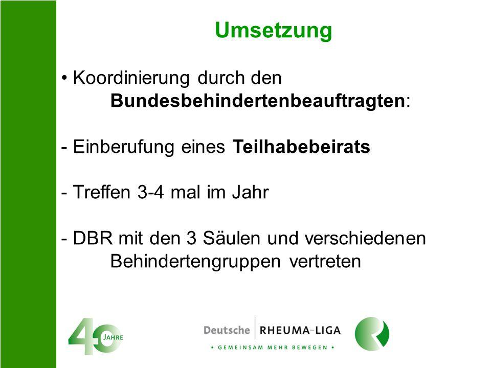 Umsetzung Koordinierung durch den Bundesbehindertenbeauftragten: - Einberufung eines Teilhabebeirats - Treffen 3-4 mal im Jahr - DBR mit den 3 Säulen