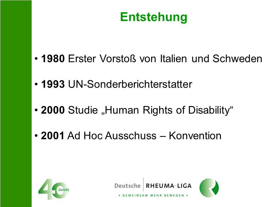 Entstehung 1980 Erster Vorstoß von Italien und Schweden 1993 UN-Sonderberichterstatter 2000 Studie Human Rights of Disability 2001 Ad Hoc Ausschuss –