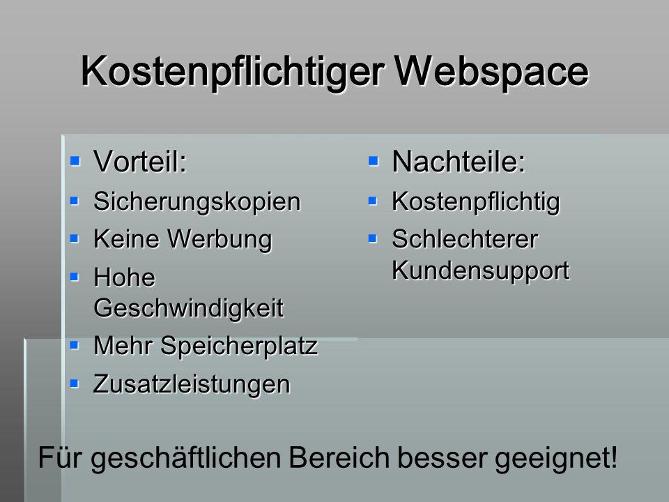 Kostenpflichtiger Webspace Vorteil: Vorteil: Sicherungskopien Sicherungskopien Keine Werbung Keine Werbung Hohe Geschwindigkeit Hohe Geschwindigkeit M