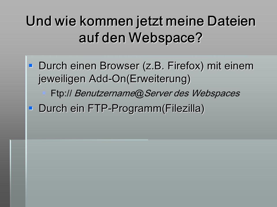 Und wie kommen jetzt meine Dateien auf den Webspace? Durch einen Browser (z.B. Firefox) mit einem jeweiligen Add-On(Erweiterung) Durch einen Browser (