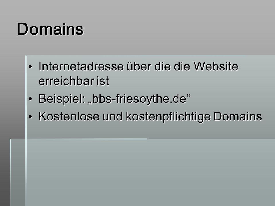 Domains Internetadresse über die die Website erreichbar ist Internetadresse über die die Website erreichbar ist Beispiel: bbs-friesoythe.de Beispiel:
