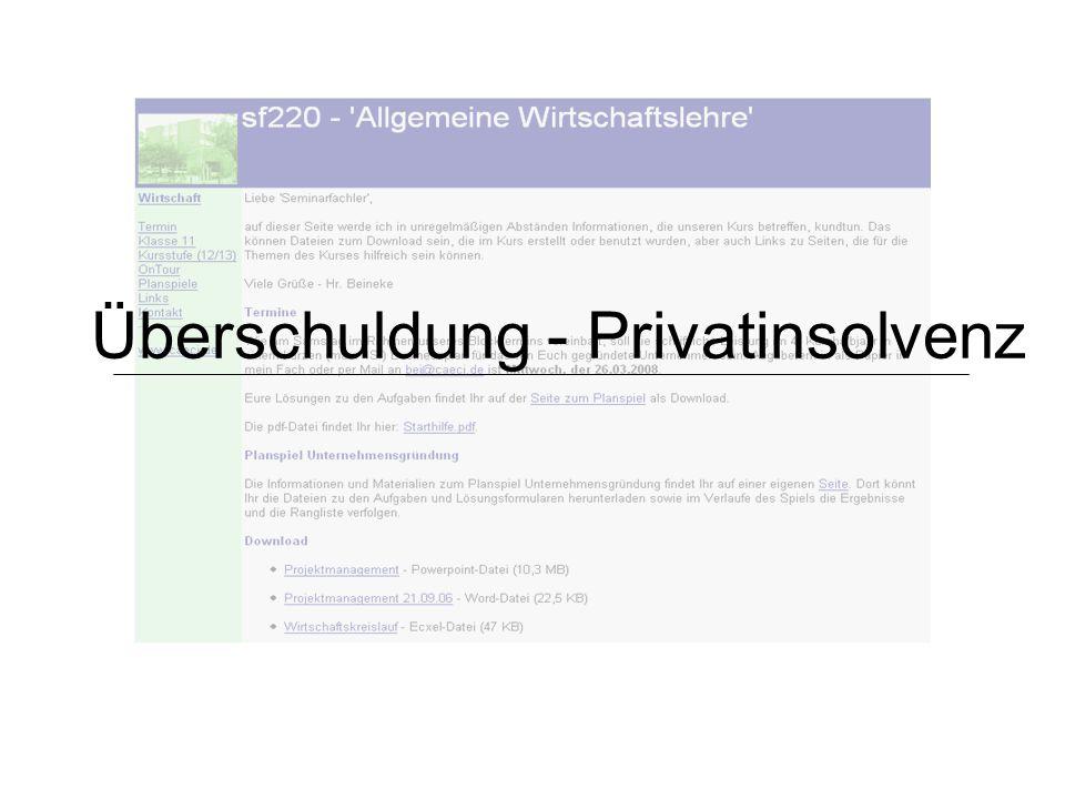 Überschuldung - Privatinsolvenz