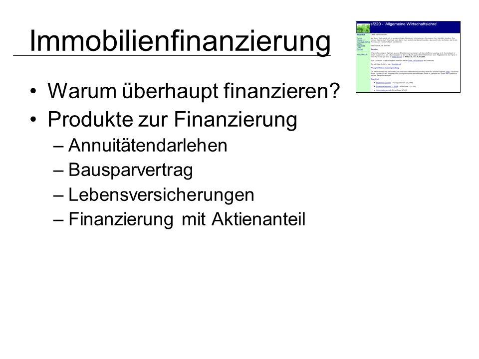 Warum überhaupt finanzieren? Produkte zur Finanzierung –Annuitätendarlehen –Bausparvertrag –Lebensversicherungen –Finanzierung mit Aktienanteil