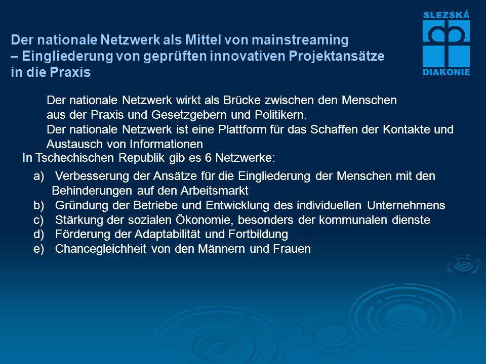 Der nationale Netzwerk als Mittel von mainstreaming – Eingliederung von geprüften innovativen Projektansätze in die Praxis Der nationale Netzwerk wirkt als Brücke zwischen den Menschen aus der Praxis und Gesetzgebern und Politikern.