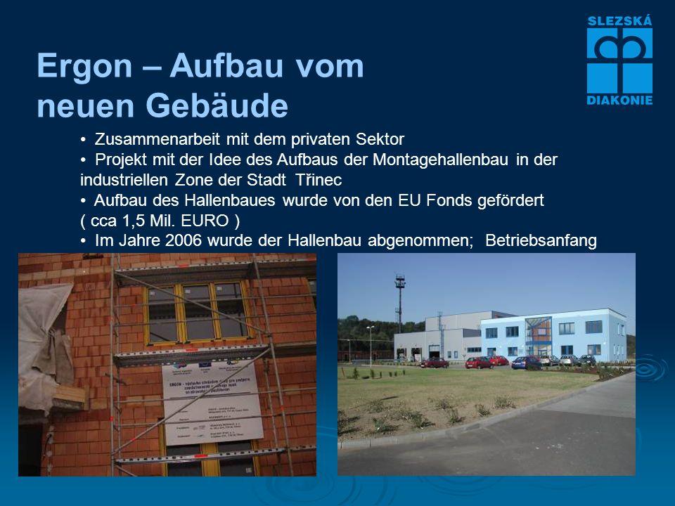 Ergon – Aufbau vom neuen Gebäude Zusammenarbeit mit dem privaten Sektor Projekt mit der Idee des Aufbaus der Montagehallenbau in der industriellen Zone der Stadt Třinec Aufbau des Hallenbaues wurde von den EU Fonds gefördert ( cca 1,5 Mil.