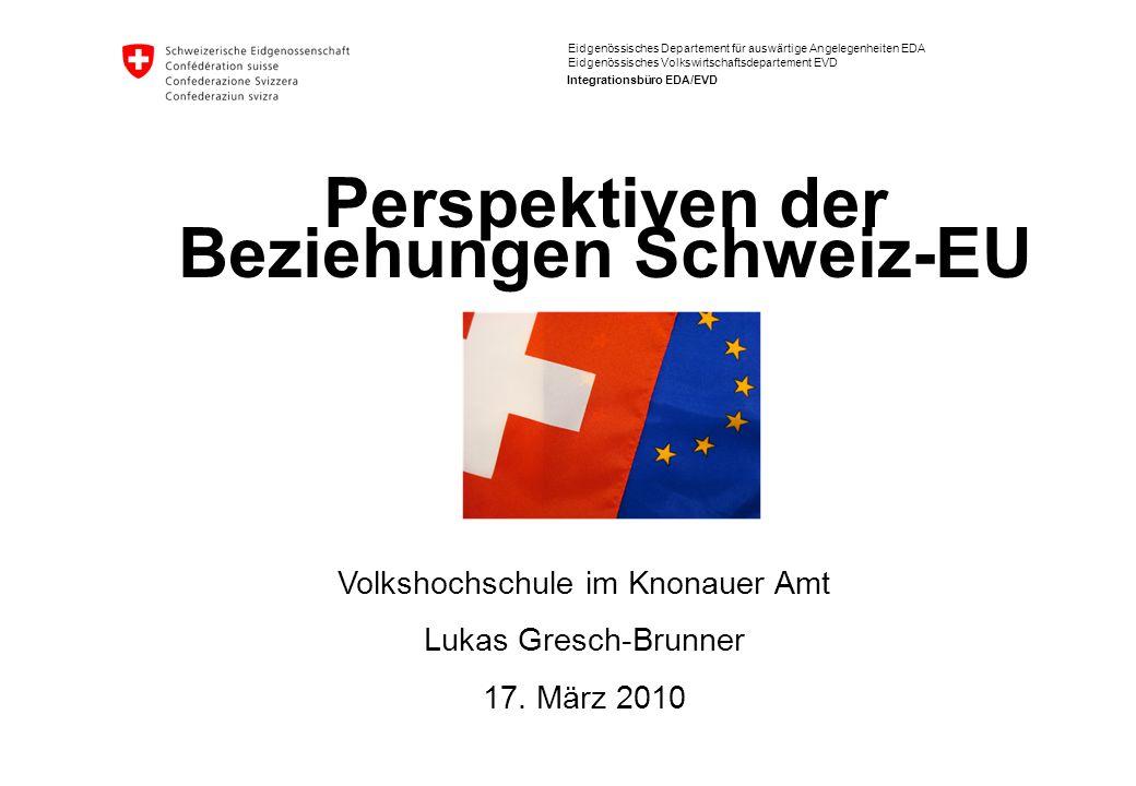Perspektiven der Beziehungen Schweiz-EU, 17.3.2010 Lukas Gresch-Brunner 22 Herausforderungen (II): Institutionelles und Klimatisches Bilaterale Abkommen CH-EU sind statisch, der EU-Acquis ist sehr dynamisch (z.