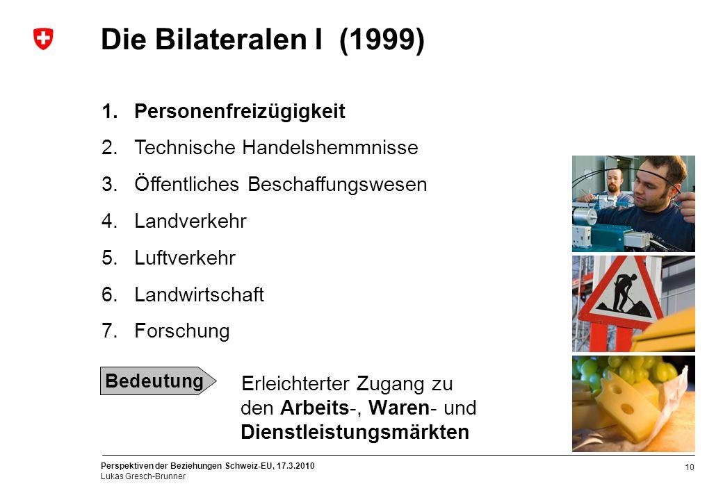 Perspektiven der Beziehungen Schweiz-EU, 17.3.2010 Lukas Gresch-Brunner 10 Erleichterter Zugang zu den Arbeits-, Waren- und Dienstleistungsmärkten Die
