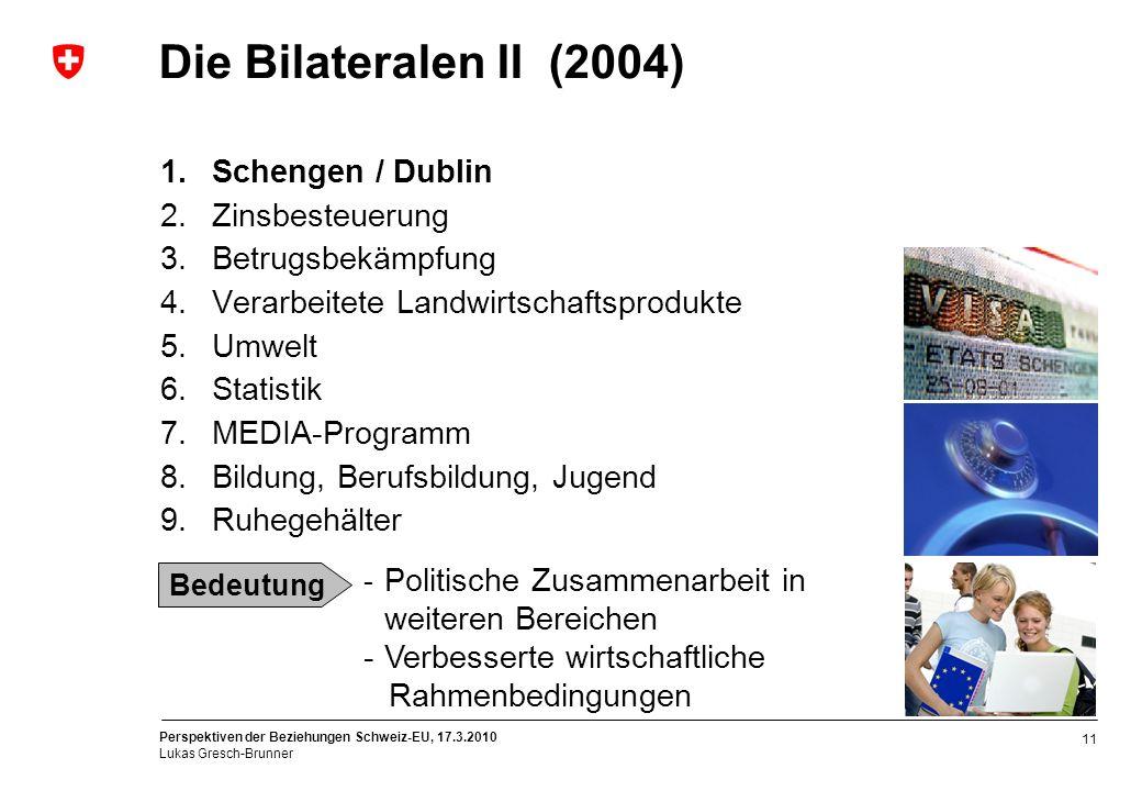 Perspektiven der Beziehungen Schweiz-EU, 17.3.2010 Lukas Gresch-Brunner 11 1.Schengen / Dublin 2.Zinsbesteuerung 3.Betrugsbekämpfung 4.Verarbeitete La