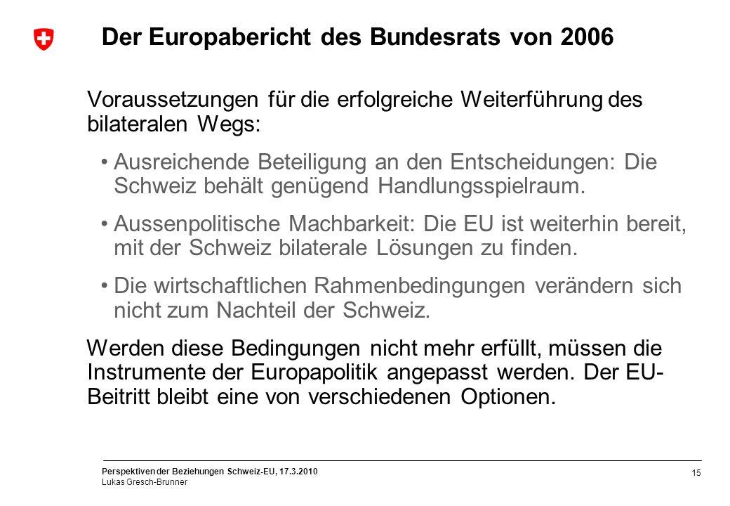 Perspektiven der Beziehungen Schweiz-EU, 17.3.2010 Lukas Gresch-Brunner 15 Der Europabericht des Bundesrats von 2006 Voraussetzungen für die erfolgrei