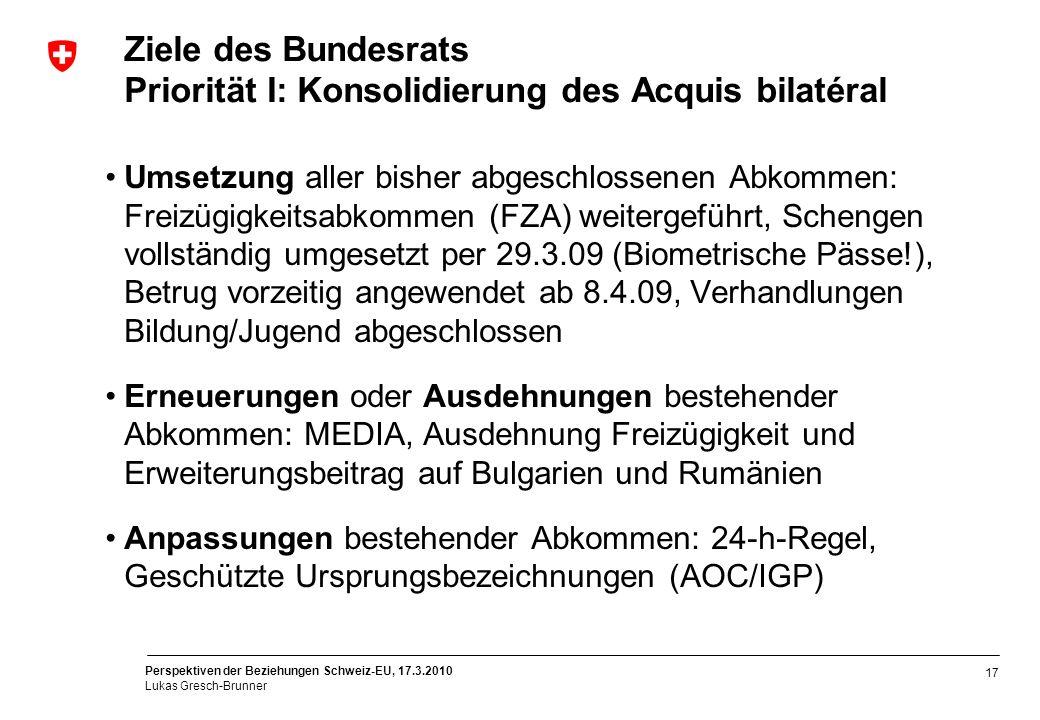 Perspektiven der Beziehungen Schweiz-EU, 17.3.2010 Lukas Gresch-Brunner 17 Ziele des Bundesrats Priorität I: Konsolidierung des Acquis bilatéral Umset