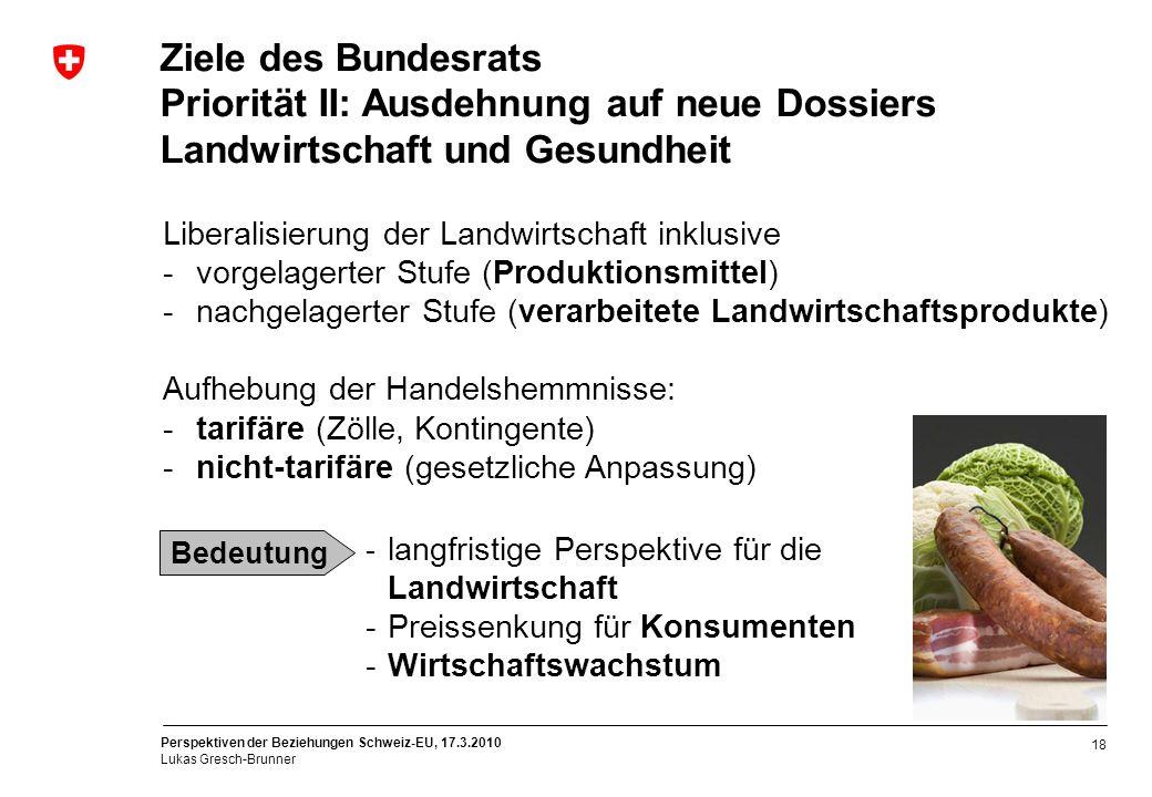 Perspektiven der Beziehungen Schweiz-EU, 17.3.2010 Lukas Gresch-Brunner 18 Ziele des Bundesrats Priorität II: Ausdehnung auf neue Dossiers Landwirtsch