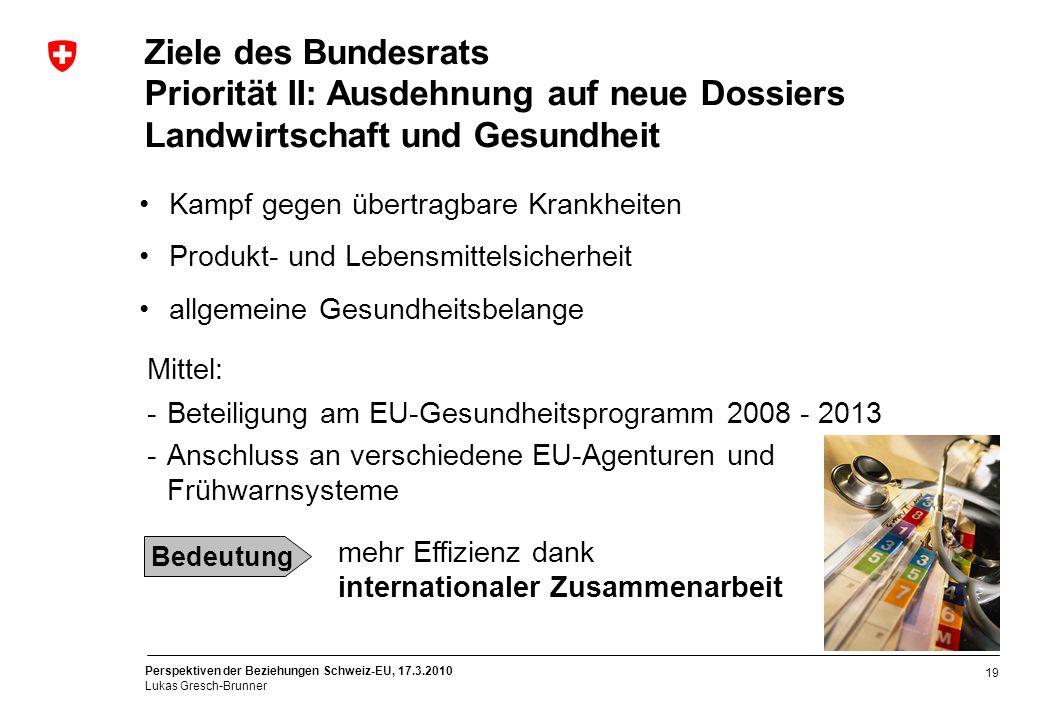 Perspektiven der Beziehungen Schweiz-EU, 17.3.2010 Lukas Gresch-Brunner 19 Ziele des Bundesrats Priorität II: Ausdehnung auf neue Dossiers Landwirtsch