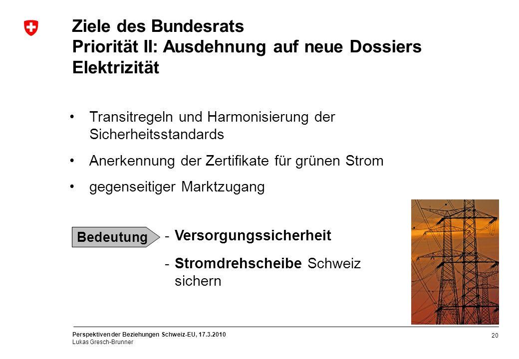 Perspektiven der Beziehungen Schweiz-EU, 17.3.2010 Lukas Gresch-Brunner 20 Ziele des Bundesrats Priorität II: Ausdehnung auf neue Dossiers Elektrizitä