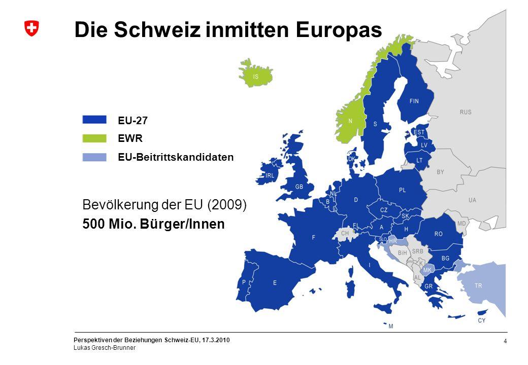 Perspektiven der Beziehungen Schweiz-EU, 17.3.2010 Lukas Gresch-Brunner 4 EU-27 EWR EU-Beitrittskandidaten Die Schweiz inmitten Europas Bevölkerung de