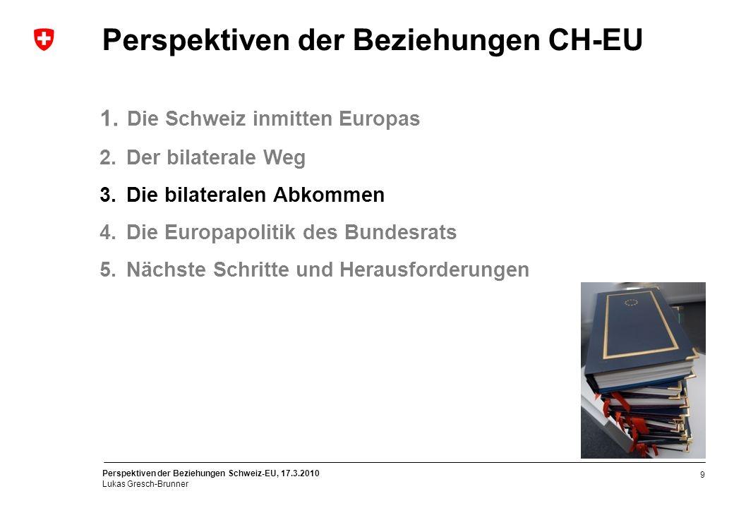 Perspektiven der Beziehungen Schweiz-EU, 17.3.2010 Lukas Gresch-Brunner 20 Ziele des Bundesrats Priorität II: Ausdehnung auf neue Dossiers Elektrizität Transitregeln und Harmonisierung der Sicherheitsstandards Anerkennung der Zertifikate für grünen Strom gegenseitiger Marktzugang -Versorgungssicherheit -Stromdrehscheibe Schweiz sichern Bedeutung