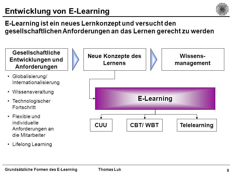 7 Lerntheoretische Ansätze in der Didaktik Mit E-Learning können alle lerntheoretischen Ansätze verfolgt werden Grundsätzliche Formen des E-LearningThomas Luk Behaviorismus Kognitivismus Konstruktivismus Lerntheorien Lernziele Kognitive Lernziele Affektive Lernziele Psychomotorische Lernziele Lernmethod e/ Lernkonzept Die Anforderung aus den Lernzielen und den Lerntheorien bestimmen die Gestaltung der Lernmethode und somit auch den Einsatz von E-Learning Visuelle, Auditive, kinästhetische Lerntypen