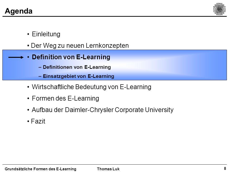 9 Definition von E-Learning In der heutigen Literatur finden sich vielfältige Definitionen von E- Learning Grundsätzliche Formen des E-LearningThomas Luk