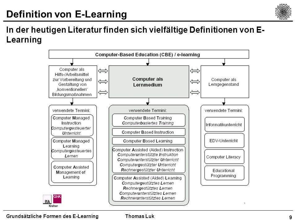 10 Definition von E-Learning In der heutigen Literatur finden sich vielfältige Definitionen von E- Learning Grundsätzliche Formen des E-LearningThomas Luk Quelle: WRHAMBRECHT+ CO