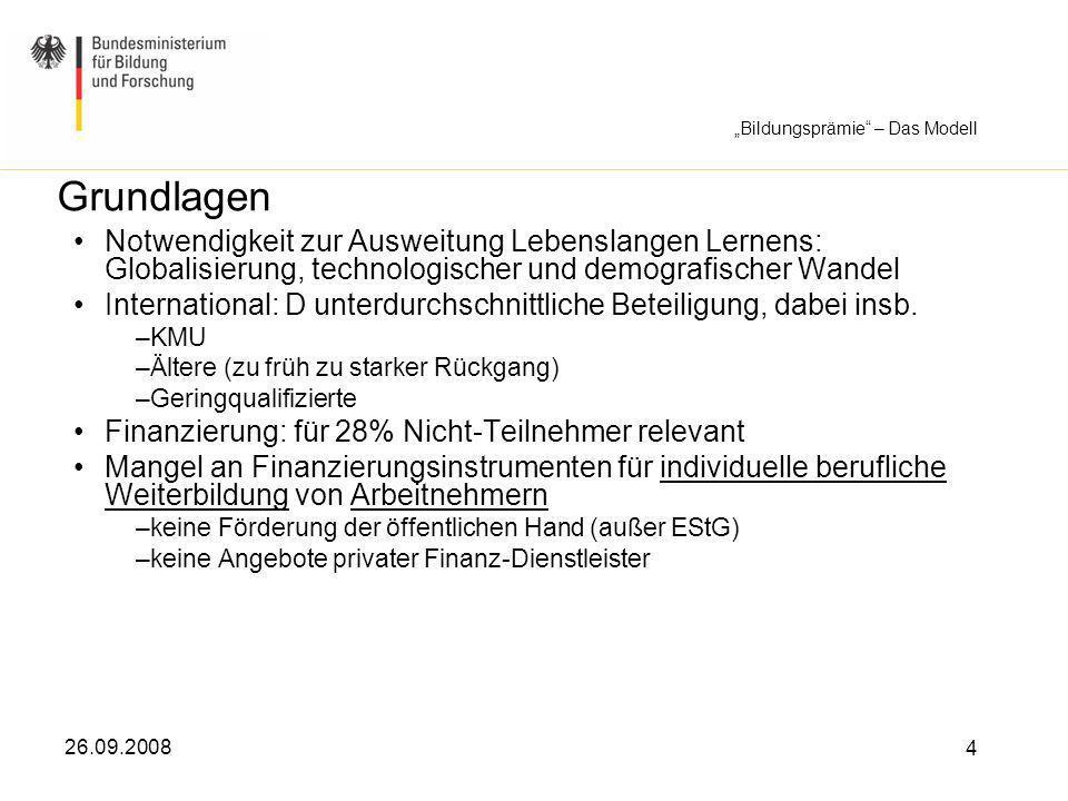 26.09.2008 15 Bildungsprämie - Beratungspraxis Zur Beratungspraxis Arbeit wird über IT-System gestützt und verwaltet Grundlage: Selbsterklärung der Begünstigten ggf.