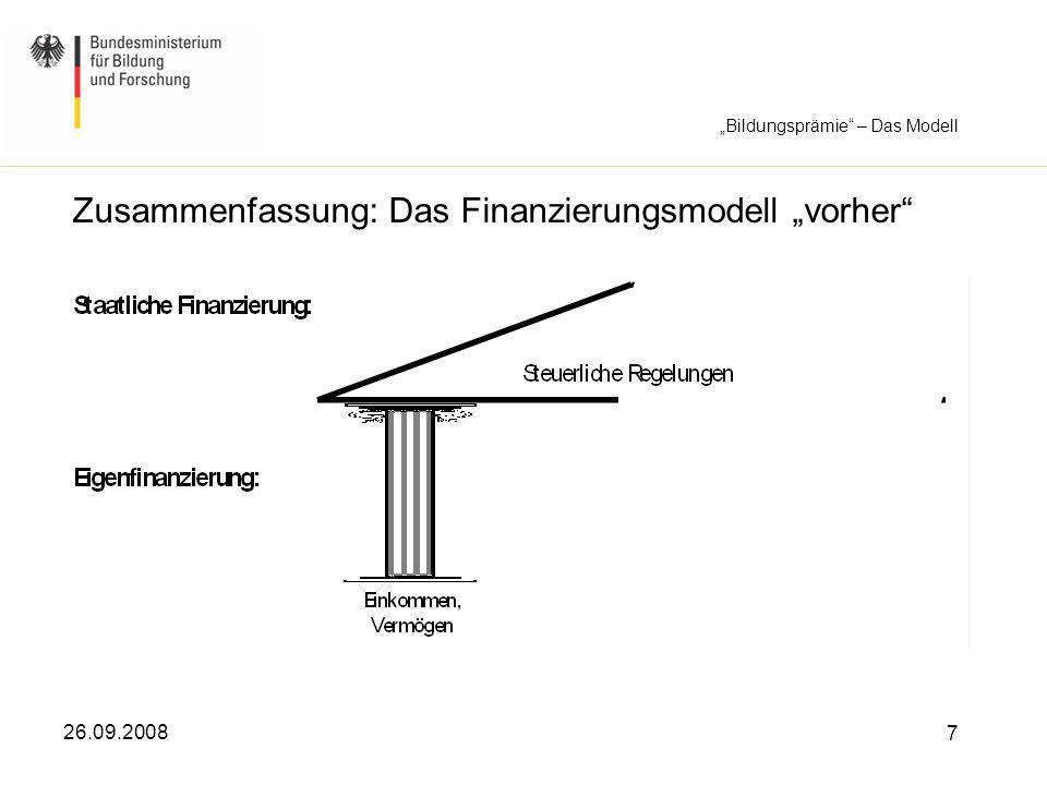 26.09.2008 7 Zusammenfassung: Das Finanzierungsmodell vorher Bildungsprämie – Das Modell