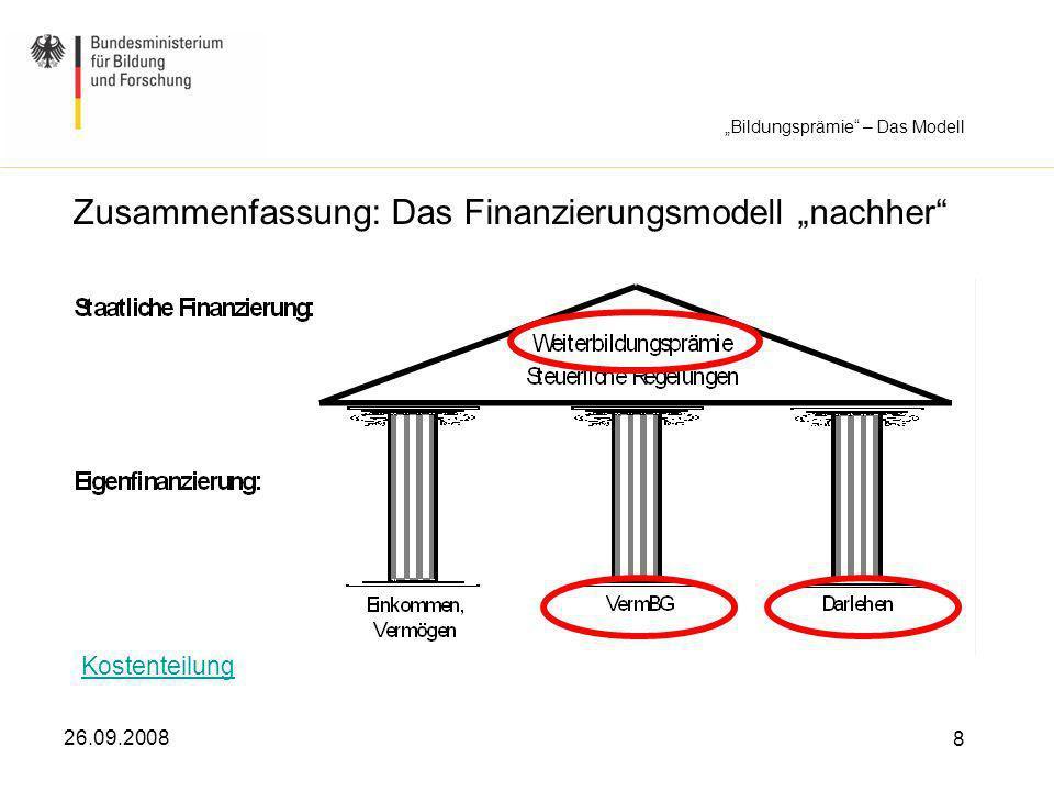 26.09.2008 8 Zusammenfassung: Das Finanzierungsmodell nachher Kostenteilung Bildungsprämie – Das Modell