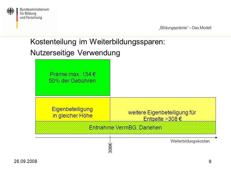 26.09.2008 9 Kostenteilung im Weiterbildungssparen: Nutzerseitige Verwendung Weiterbildungskosten Prämie max. 154 50% der Gebühren Eigenbeteiligung in