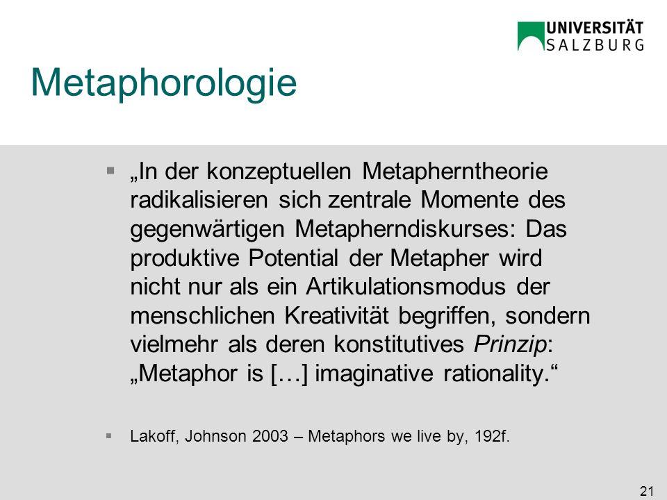 Metaphorologie In der konzeptuellen Metapherntheorie radikalisieren sich zentrale Momente des gegenwärtigen Metapherndiskurses: Das produktive Potenti