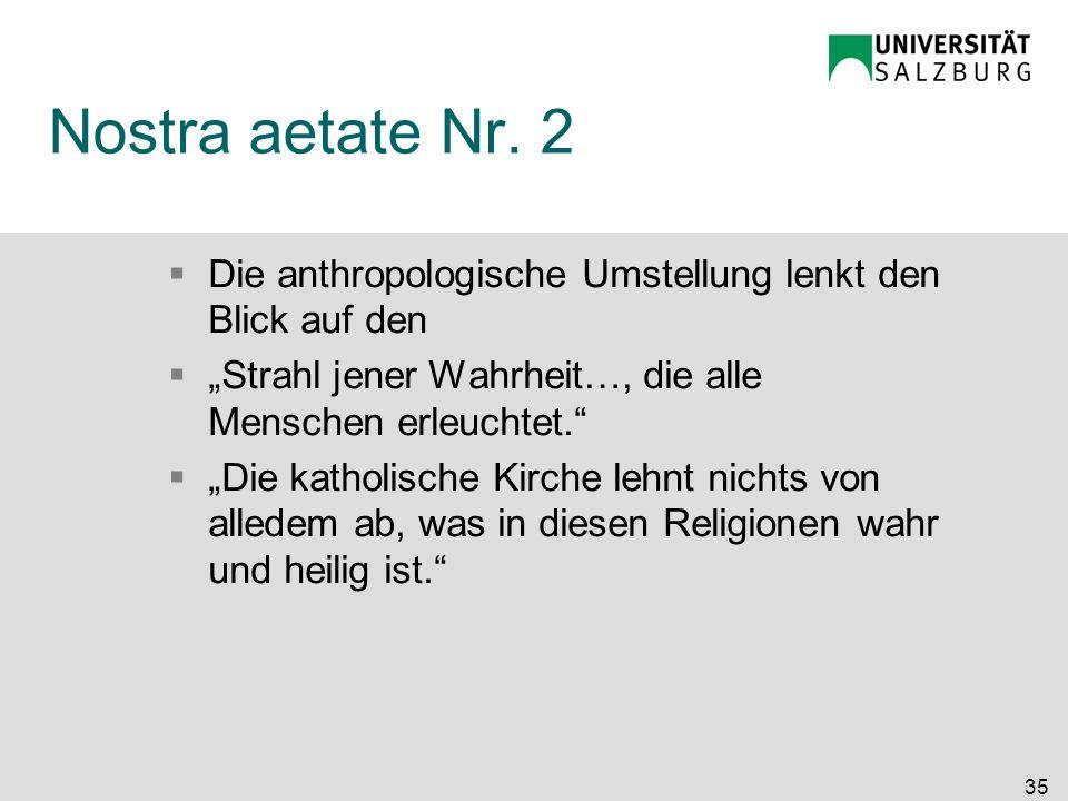 Nostra aetate Nr. 2 Die anthropologische Umstellung lenkt den Blick auf den Strahl jener Wahrheit…, die alle Menschen erleuchtet. Die katholische Kirc
