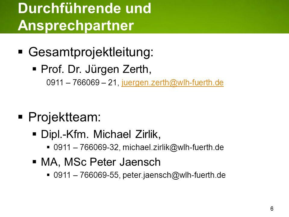 6 Durchführende und Ansprechpartner Gesamtprojektleitung: Prof. Dr. Jürgen Zerth, 0911 – 766069 – 21, juergen.zerth@wlh-fuerth.dejuergen.zerth@wlh-fue