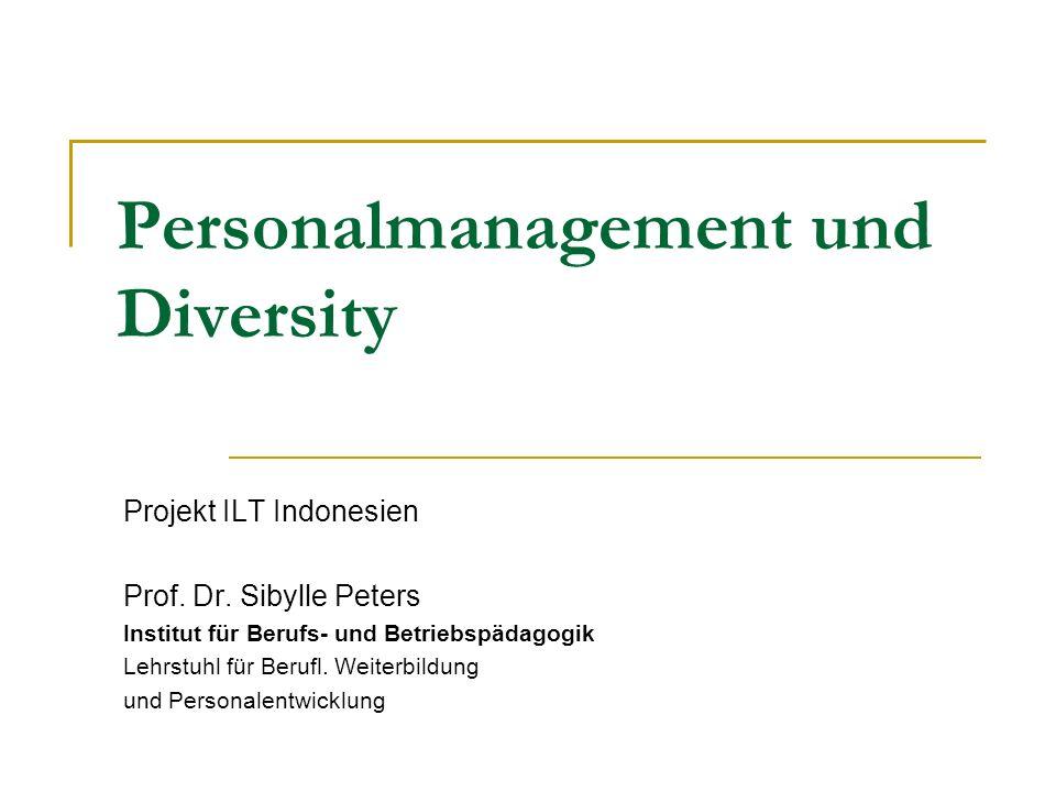 Projekt ILT Indonesien Prof. Dr. Sibylle Peters Institut für Berufs- und Betriebspädagogik Lehrstuhl für Berufl. Weiterbildung und Personalentwicklung