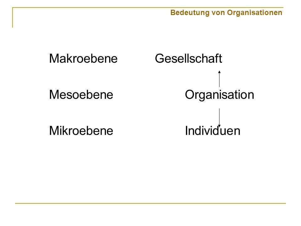 Bedeutung von Organisationen Makroebene Gesellschaft MesoebeneOrganisation MikroebeneIndividuen