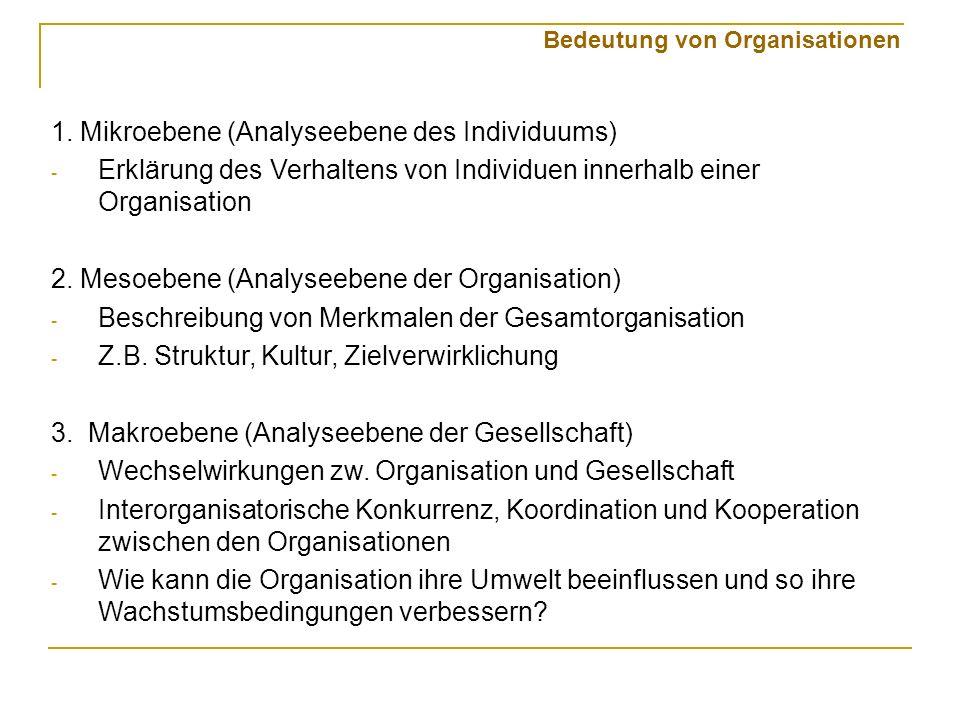 1. Mikroebene (Analyseebene des Individuums) - Erklärung des Verhaltens von Individuen innerhalb einer Organisation 2. Mesoebene (Analyseebene der Org