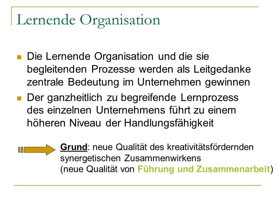 Kernelemente der Lernenden Organisation Die Lernende Organisation unterscheidet sich durch Ethik und die Handlungsweisen seiner Menschen von herkömmlichen Organisationen Die Lernende Organisation kann nur auf der Grundlage eines positiven Menschenbildes entstehen, in dem Lernfähigkeit, Leistungsbereitschaft und Vertrauen tragende Elemente sind Gestaltungsprinzipien einer Lernenden Organisation sind Hierarchie und laterale Vernetzung Entscheidungskompetenzen und Verantwortung werden so weit wie möglich dezentralisiert Optimale Information und Kommunikation sind zentrale Gestaltungsmerkmale Die Lernende Organisation institutionalisiert duale Entscheidungsstrukturen Kritische Selbstreflexion ist der Schlüssel für eine erfolgreiche Entwicklung Permanente Arbeitsprozessverbesserung
