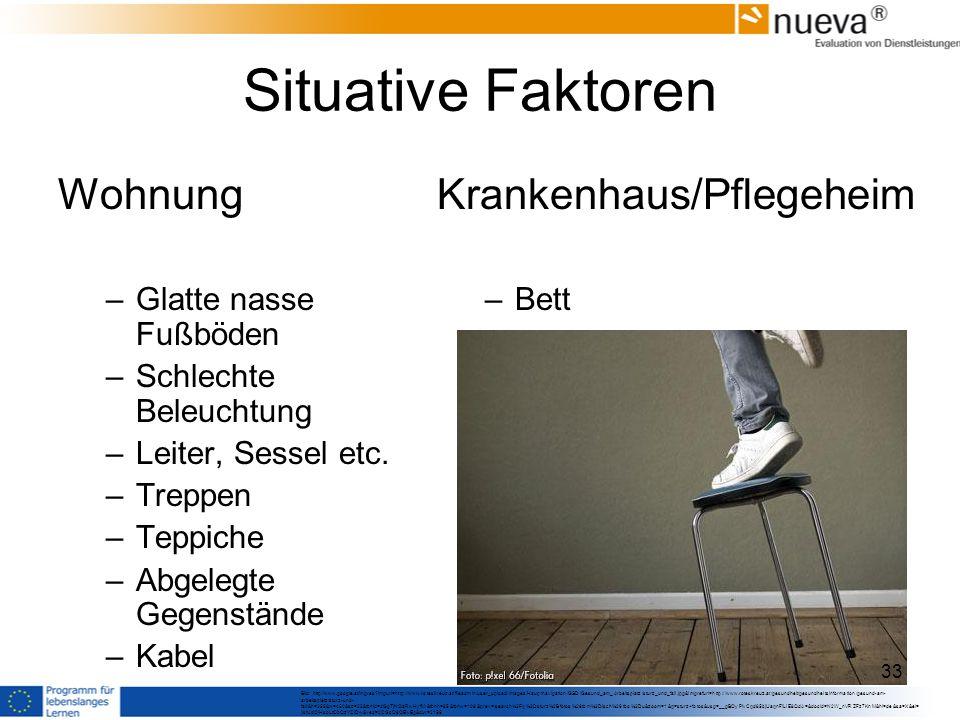 Situative Faktoren Wohnung –Glatte nasse Fußböden –Schlechte Beleuchtung –Leiter, Sessel etc.