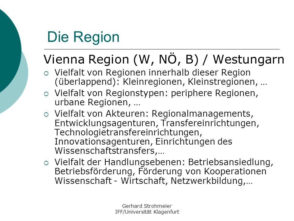 Gerhard Strohmeier IFF/Universität Klagenfurt Die Region Vienna Region (W, NÖ, B) / Westungarn Vielfalt von Regionen innerhalb dieser Region (überlapp