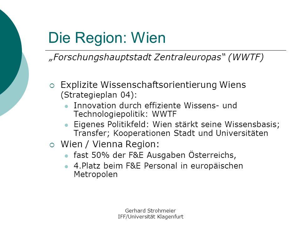 Gerhard Strohmeier IFF/Universität Klagenfurt Die Region: Wien Forschungshauptstadt Zentraleuropas (WWTF) Explizite Wissenschaftsorientierung Wiens (S