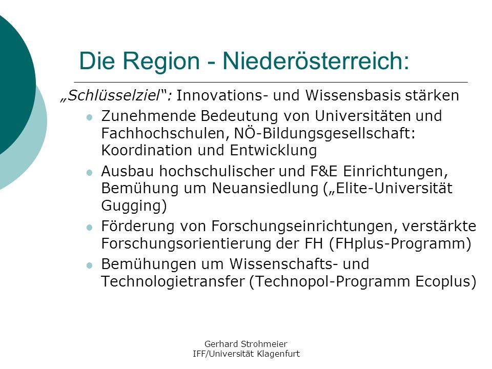 Gerhard Strohmeier IFF/Universität Klagenfurt Die Region - Niederösterreich: Schlüsselziel: Innovations- und Wissensbasis stärken Zunehmende Bedeutung
