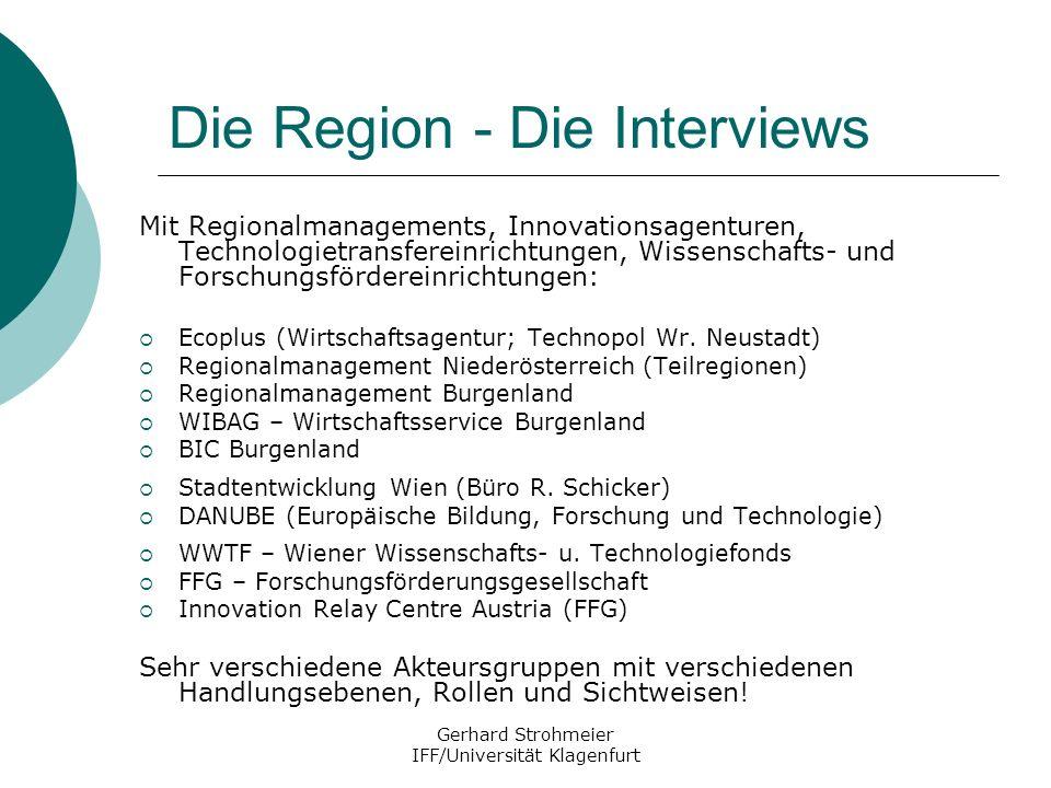 Gerhard Strohmeier IFF/Universität Klagenfurt Die Region - Die Interviews Mit Regionalmanagements, Innovationsagenturen, Technologietransfereinrichtun