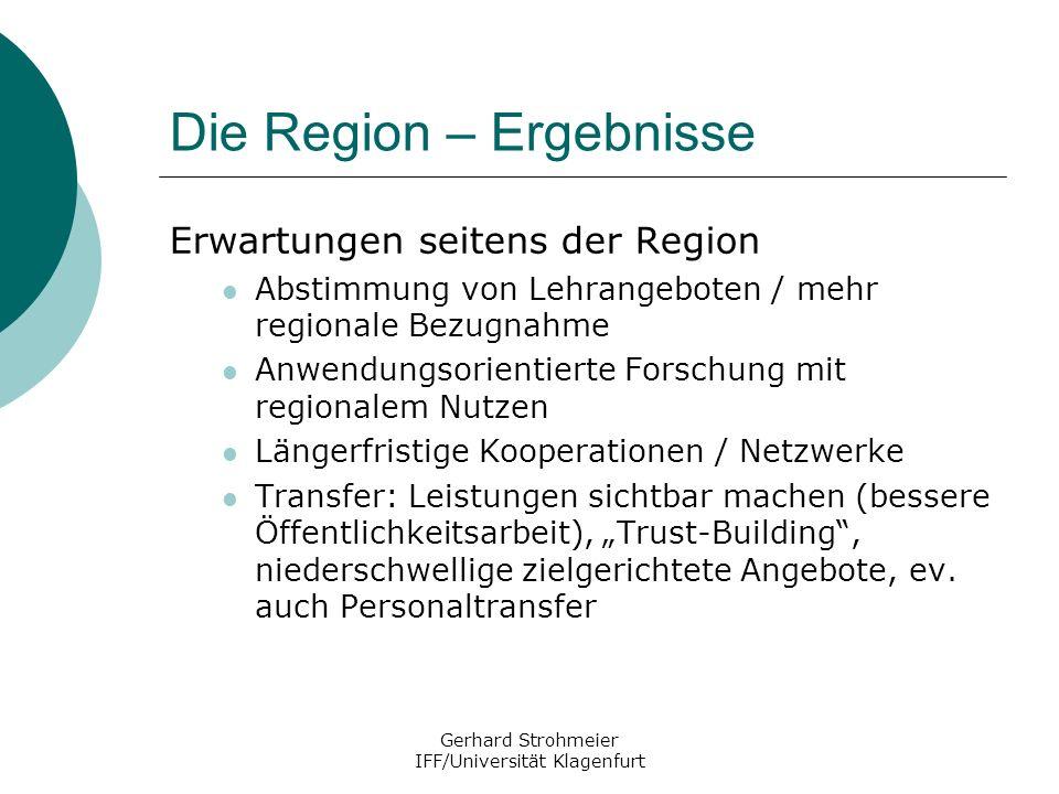 Gerhard Strohmeier IFF/Universität Klagenfurt Die Region – Ergebnisse Erwartungen seitens der Region Abstimmung von Lehrangeboten / mehr regionale Bez