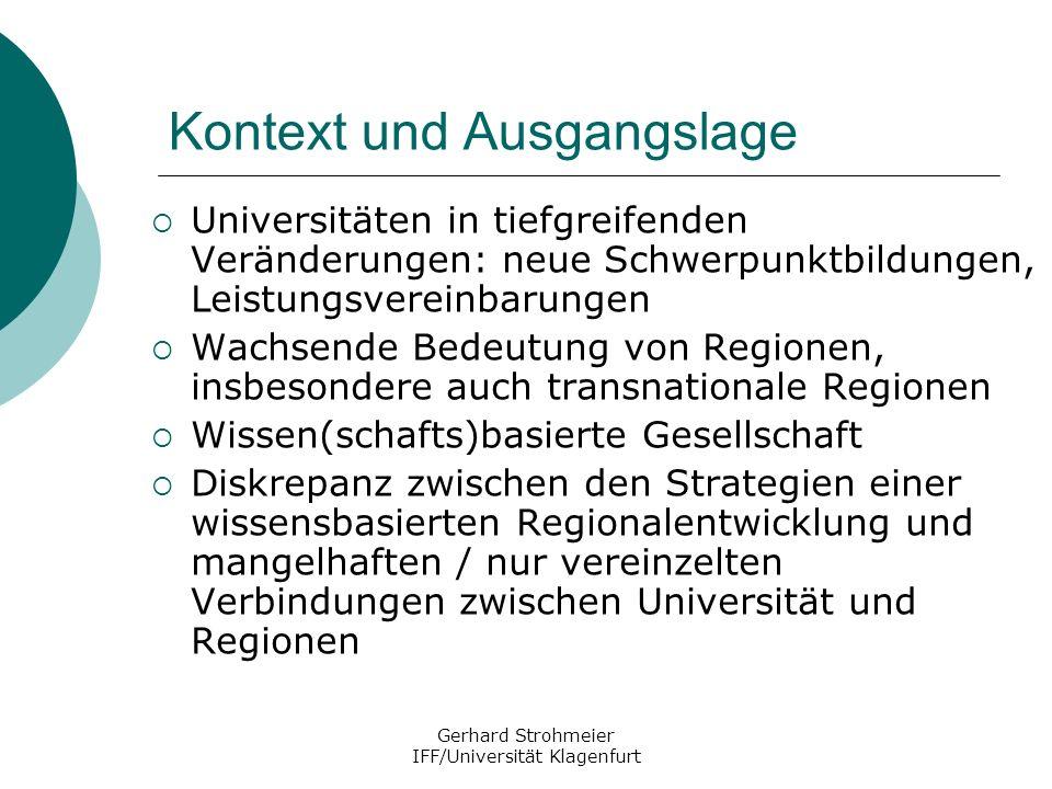 Gerhard Strohmeier IFF/Universität Klagenfurt Absichten und Ziele von UniRegio Untersuchung und Analyse der bestehenden Beziehungen zwischen Universitäten / Fachhochschulen der Vienna Region und Westungarns zur Region.