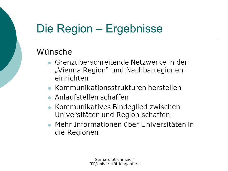 Gerhard Strohmeier IFF/Universität Klagenfurt Die Region – Ergebnisse Wünsche Grenzüberschreitende Netzwerke in der Vienna Region und Nachbarregionen