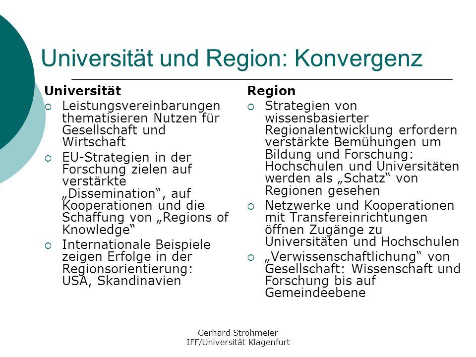 Gerhard Strohmeier IFF/Universität Klagenfurt Universität und Region: Konvergenz Universität Leistungsvereinbarungen thematisieren Nutzen für Gesellsc