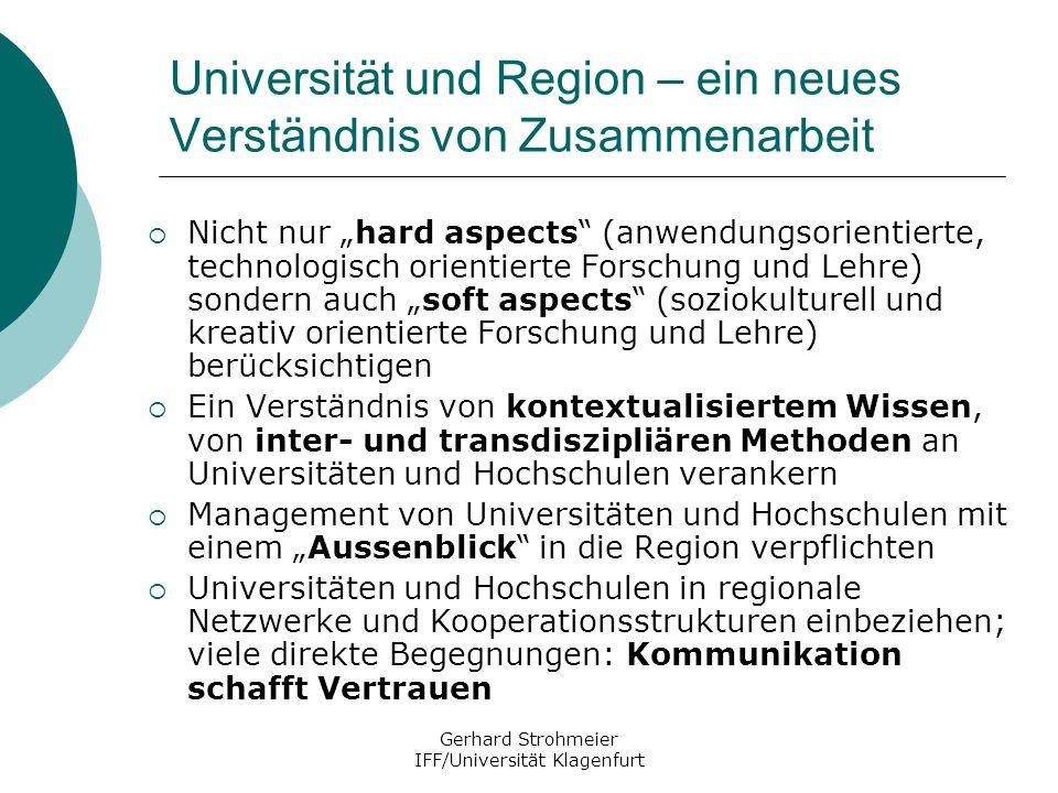 Gerhard Strohmeier IFF/Universität Klagenfurt Universität und Region – ein neues Verständnis von Zusammenarbeit Nicht nur hard aspects (anwendungsorie