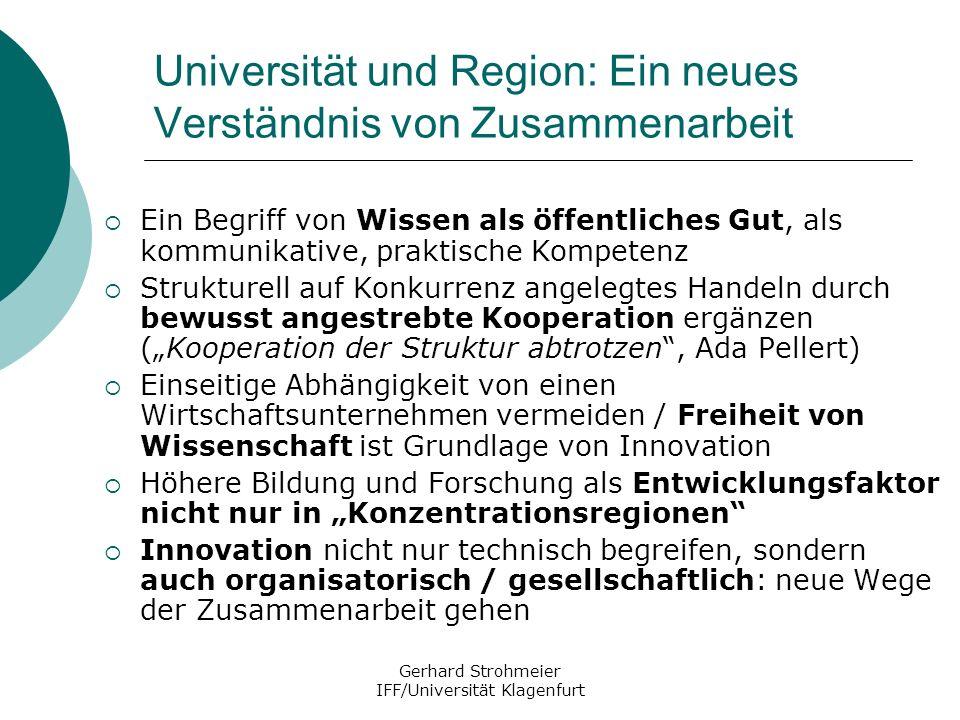 Gerhard Strohmeier IFF/Universität Klagenfurt Universität und Region: Ein neues Verständnis von Zusammenarbeit Ein Begriff von Wissen als öffentliches