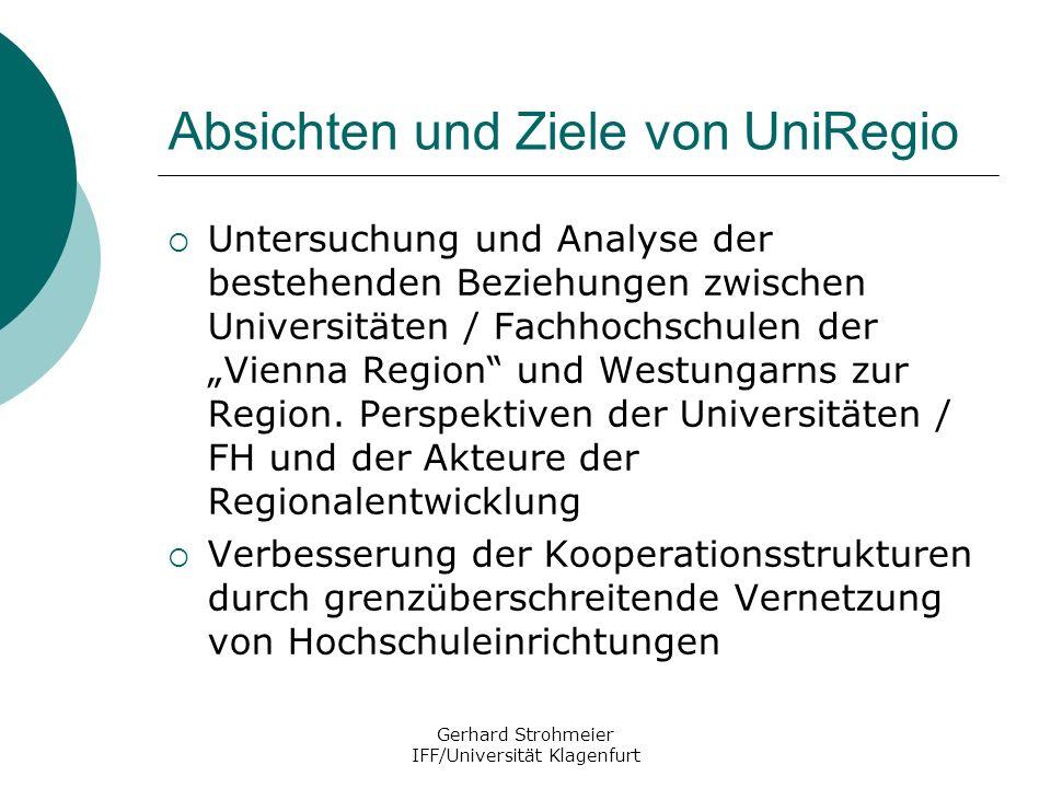 Gerhard Strohmeier IFF/Universität Klagenfurt Absichten und Ziele von UniRegio Untersuchung und Analyse der bestehenden Beziehungen zwischen Universit