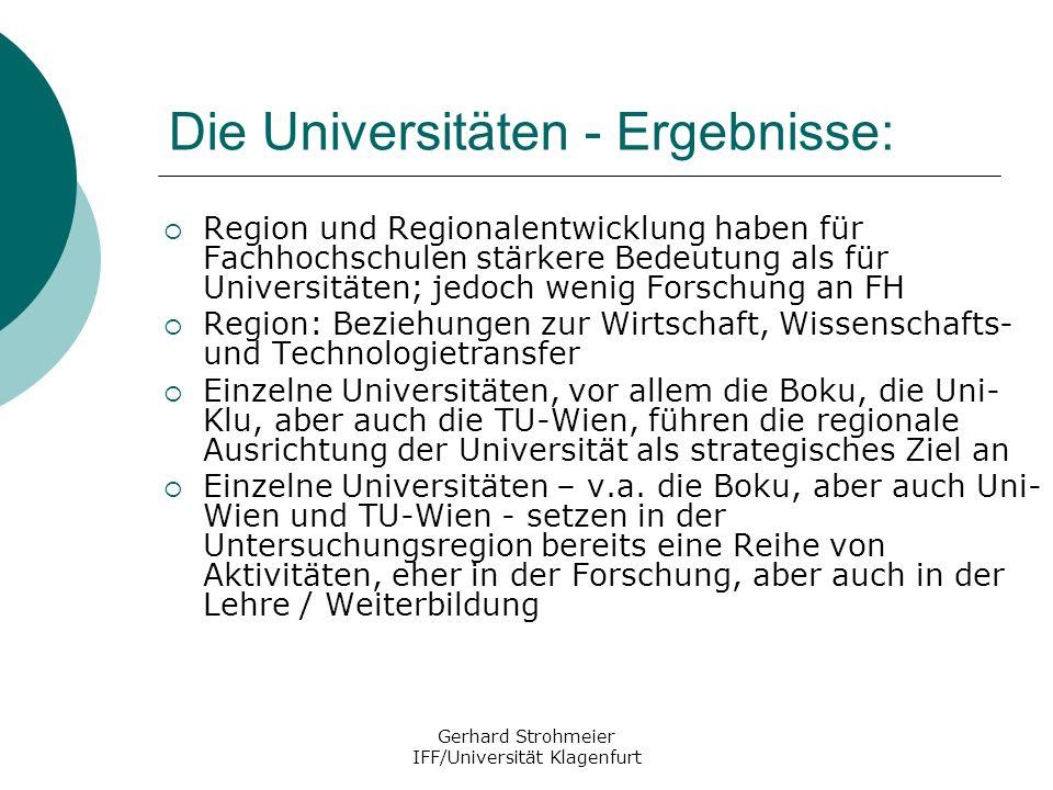 Gerhard Strohmeier IFF/Universität Klagenfurt Die Universitäten - Ergebnisse: Region und Regionalentwicklung haben für Fachhochschulen stärkere Bedeut